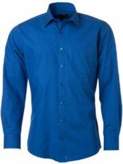 James & Nicholson James and Nicholson Heren Longsleeve Poplin Shirt (Koningsblauw)