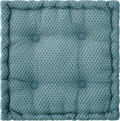 Atmosphera DELUXE stoelkussen blauw motief 40 x 40 H8 cm - Extra dik met handvat - 4 Knopen - Vloerkussen - Loungekussen