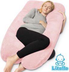 Litollo® Zwangerschapskussen XXL | Voedingskussen | Lichaamskussen| 280cm | Zachte fleece stof | Body pillow |Afneembare hoes |Luxe opbergtas | Roze