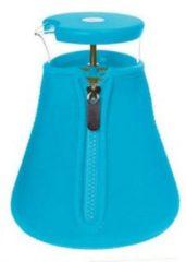 Blauwe Qdo Karaf Glas - Met Neopreen Sleeve - Voor Losse Thee - 1,2 liter - Turquoise