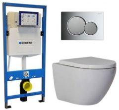 Douche Concurrent Geberit UP 320 Toiletset - Inbouw WC Hangtoilet Wandcloset - Shorty Sigma-01 Chroom/mat Chroom