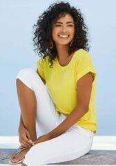 Gele Vivance T-shirt, met elastische zoom