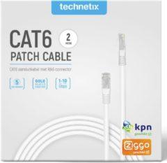 Witte Technetix - Technetix Patchkabel Cat6 2m - 30 Dagen Niet Goed Geld Terug