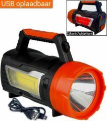 Oranje Zaklamp LED Oplaadbaar Grote Schijnwerper | Camping Zoeklicht Groot Zaklantaarn | Zoeklamp Handschijnwerper led | Oplaadbare Zaklamp | King Mungo KMSL003