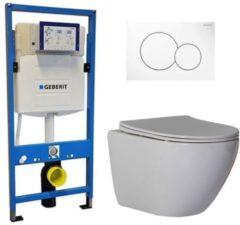Douche Concurrent Geberit UP 320 Toiletsets - Inbouw WC Hangtoilet Wandcloset - Shorty Flatline Sigma-01 Wit