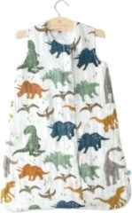 Witte Little Unicorn Cotton Muslin slaapzak Dino Friends - maat Small