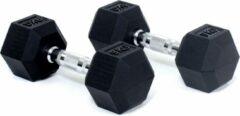 Zwarte Core Power Rubber Hex Dumbbells - 9 kg (per paar)