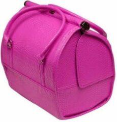 Roze Merkloos / Sans marque Nagel koffer - tas Kleur Crocoprint PINK - NIEUW MODEL - Modern Design - Alleen bij ONS verkrijgbaar
