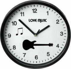 Witte Akyol Moderne Zwarte Klok / I love music / Gitaar / Muurklok Zwart / Wandklok Zwart / 23cm / Ronde Muurklok / Wandklok