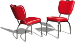 Bel Air Retro Fifties Furniture Bel Air Retro Eetkamerstoel CO-26 Rood
