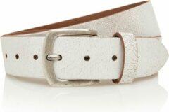 Timbelt 4cm jeans riem van crack leder - 100% leer - wit - Maat 105 - Totale lengte riem 120 cm