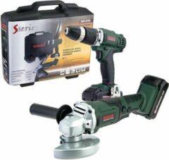 Boxer Tools Boxer S-series Complete Set met Boormachine + Haakse Slijper - 2 Accu's -20.4 V + 13 stuks accessories