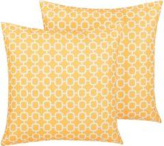 Beliani Tuinkussen set van 2 geel 40 x 40 cm