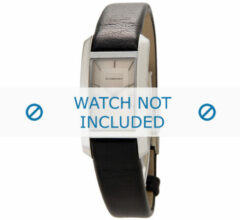 Zwarte Burberry horlogeband BU1053 Glad leder Zwart