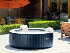 Blauwe Intex PureSpa Navy Bubbel Opblaasbare Jacuzzi 4-persoons | Opblaasbare spa