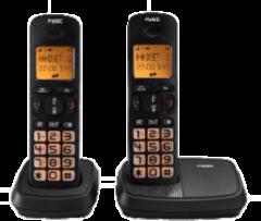 Zwarte Fysic FX-5520 Big Button Dect Twinset | Knipperende display- en toetsverlichting bij inkomend gesprek | Zwart