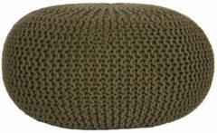 Donkergroene LABEL51 Poef 'Knitted', 70 x 35cm, kleur Groen