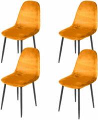 Gebor Set van 4 eetkamerstoelen fluweel – Model Inoui - Modern Ontworpen Stoel – Mosterd Geel Velvet – Design – Fluweel – Mosterd Geel
