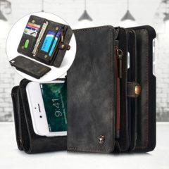 Zwarte Caseme Iphone 7 Vintage Lederen Portemonnee Hoesje - uitneembaar met backcover (zwart)