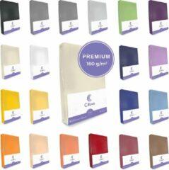 Cillows Premium Jersey Hoeslaken voor Matras - 90x200 - 100x220 cm - (tot 25 cm hoogte) – Beige