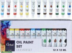 Olieverf tubes in 12 kleuren 12 ml - Hobby/knutselmateriaal - Schilderij maken - Verf op oliebasis - Verschillende kleuren