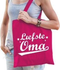 Shoppartners Cadeau tas katoen fuchsia roze met de tekst Liefste oma - kadotasje voor oma's