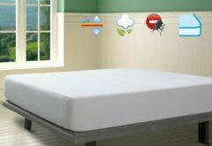 Witte SAVEL – Waterdichte en ademende, 100% katoenen badstof matrasbeschermer – 180x200cm