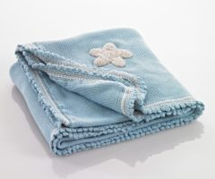 Blauwe Pebble Blanket - Organic - duck egg blue with stars