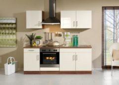 HELD Möbel Küchenzeile Nevada 210 cm Hochglanz creme - ohne E-Geräte