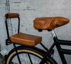 Ohmiomine Complete Set : bagagedrager-kussen en rug-rolkussentje incl. voetsteuntjes en rugleuning Leather Look
