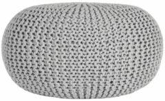 Licht-grijze LABEL51 Poef Knitted', 70 x 35cm, kleur Lichtgrijs
