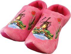 Holland slippers by Wilhelmus Klompsloffen roze met windmolen maat 16-19