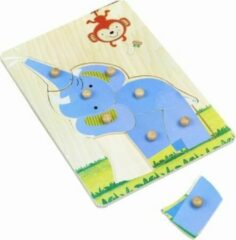 Blauwe Playwood / Roel Houten noppen puzzel olifant 8 pcs noppenpuzzel