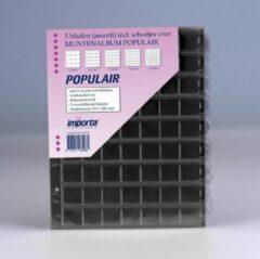 Transparante Importa POPULAIR muntbladen incl. schuifjes, 5 stuks met zwarte schutbladen, geschikt voor 167 munten