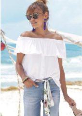 Witte Buffalo strandshirt met borduursel en kwastjes
