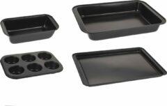 4goodz 4 delige bakvormen set met anti-aanbaklaag - Zwart