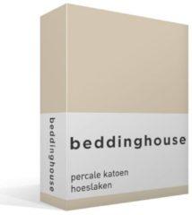 Grijze Beddinghouse Percale Katoen Hoeslaken - 100% Percale Katoen - Lits-jumeaux (160x200 Cm) - Natural