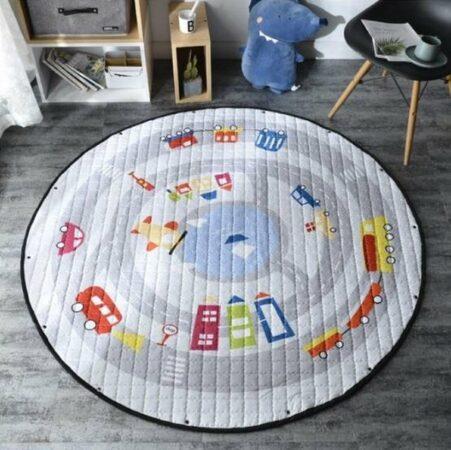 Afbeelding van AYME Zacht Speelkleed Baby | Speelkleed Kinderen | Diameter 150cm | AutoKleed | 100% Katoen | Baby- of Kinderkamer | Auto's