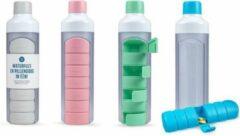 YOS Bottle - waterfles met pillendoos - Blauw
