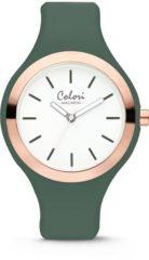 Colori Horloge Macaron staal/siliconen rosékleurig/groen 30 mm 5-COL510