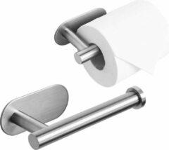 XIVADA Toiletrolhouder zonder boren - Zilver - RVS WC Rolhouder Zelfklevend