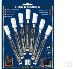 Securit Krijtstiften set van 7 - wit Kalk marker | Krijtstift | Afwasbaar | Krijt op glas speigel plastic