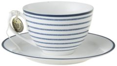 Blauwe Laura Ashley Blueprint Kop en Schotel Candy Stripe 26 cl