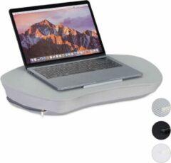 Relaxdays Laptop kussen met handvat - Grijs - Laptopstandaard - Schoot kussen