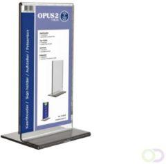 Transparante Kaarthouder T-standaard OPUS 2 105x210mm - Tafelstandaard voor een respresentatieve tweezijdige presentatie - Geschikt als menu- of prijskaarthouder - Hoogwaardig glashelder acrylaat