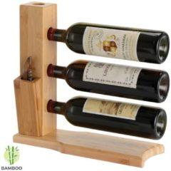 Wijnrek van bamboe hout voor 3 flessen wijn - Design wijnflessenrek / flessenrek - Decopatent®