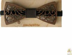 Bruine Lay3rD Lasercut - Houten Vlinderdas - Strikje Krullen - Donkere Walnoot - Zwart Leer