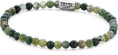 Frank 1967 Beads 7FB 0379 Natuurstenen Heren armband - 20 cm / 4 mm - Zilverkleurig / Groen