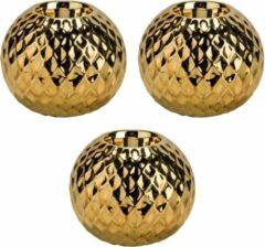 Goudkleurige Bellatio Decorations 3x Gouden theelichthouders/waxinelichthouders diamond 9,7 cm - Kaarsenhouders/lantaarns - Sfeer lichtjes