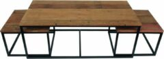 DC Interior Set van 3 salontafels 120 cm in massief hout met metalen poten in natuurlijke en zwarte kleur
